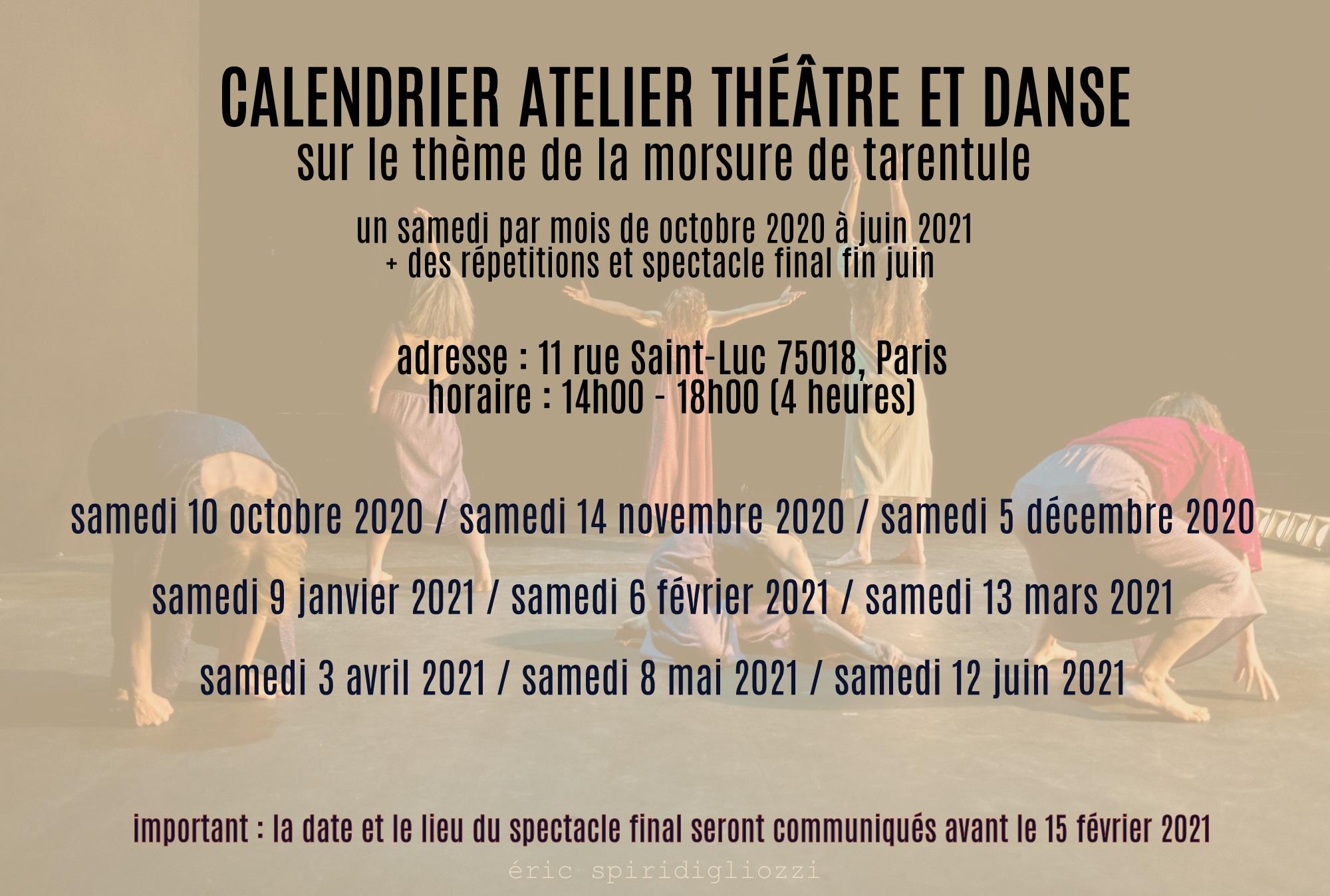 calendrier atelier theatre 2020 2021