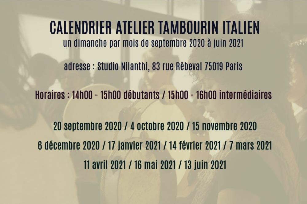 calendrier tambourin italien 2020 2021